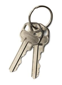 Two Metal Keys on Keychain